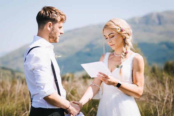 Dougie und Jo's Hochzeit im Highland Titles Reservat