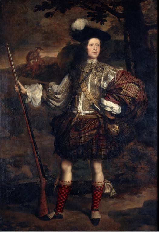 Dieses Bild zeigt einen Highland Anführer, der einen der frühesten schottischen Kilts um 1860 trägt, das Plaid mit Gürtel.